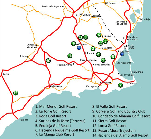 Map showing Golf Resorts in Murcia